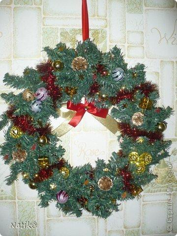 Только на такой веночек у меня хватило времени для себя любимой, хотя и давала МК в своём городе рождественского венка из ели. фото 5