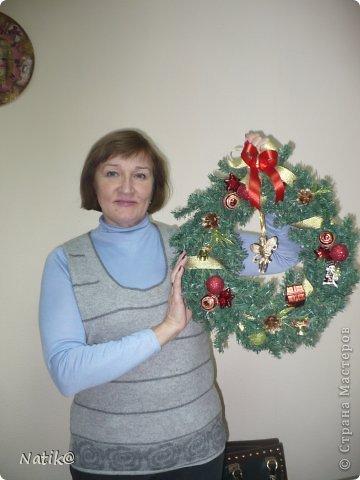 Только на такой веночек у меня хватило времени для себя любимой, хотя и давала МК в своём городе рождественского венка из ели. фото 14