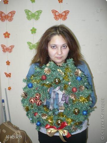 Только на такой веночек у меня хватило времени для себя любимой, хотя и давала МК в своём городе рождественского венка из ели. фото 15
