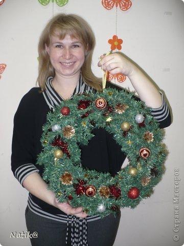 Только на такой веночек у меня хватило времени для себя любимой, хотя и давала МК в своём городе рождественского венка из ели. фото 16