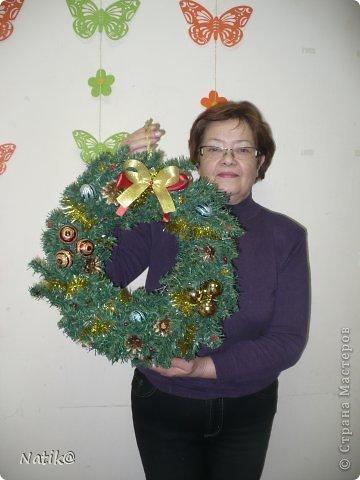 Только на такой веночек у меня хватило времени для себя любимой, хотя и давала МК в своём городе рождественского венка из ели. фото 17