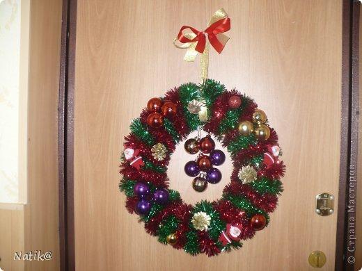 Только на такой веночек у меня хватило времени для себя любимой, хотя и давала МК в своём городе рождественского венка из ели. фото 2