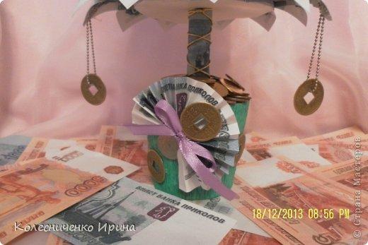 Насмотревшись на ёлочки мастериц из СМ решила сделать и себе ёлочку, да не простую а денежную... это одна из ёлочек  фото 6
