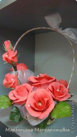корзиночка с алыми розами) фото 1