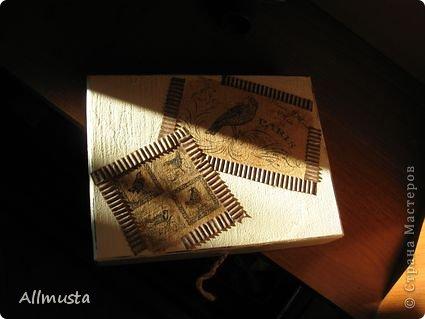 Здравствуйте, дорогие мастера! выношу на ваш суд шкатулку. Попыталась ее сделать из обычной картонной коробки. фото 1