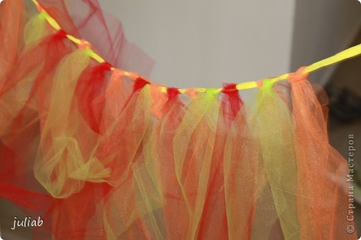 На веревку навязываются отрезки цветной сетки,не знаю,как правильно называется ткань на русском,получается юбочка,как у балеринки. фото 1