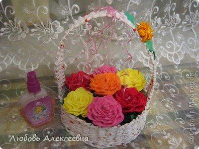 Всем доброго времени суток! С наступающим  НОВЫМ ГОДОМ! Моя корзиночка с розами! фото 1