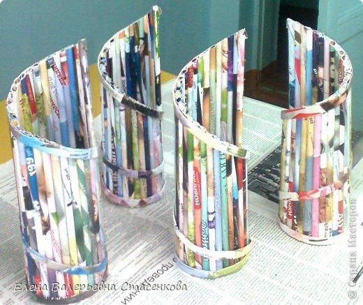 Работа из журнальных трубочек перед покраской. Работа Болотновой Алины 11 класс. фото 1