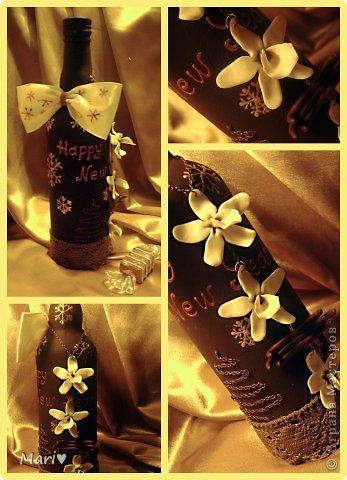 Моя любимица - шоколадно-ванильная бутылочка! Новый год - это же куча сладостей! Вот поэтому такую смастерила))) фото 1