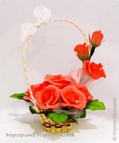 корзиночка с алыми розами) фото 2