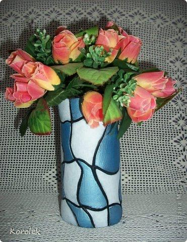 Здравствуйте!!Вот такие вазочки из гипса я сделала с помощью обычных бутылок от сладкой воды и пластилина. Вазы сделаны уже давно,только сейчас наконец сфотографировала Заодно решила сделать МК,может кому нибудь пригодится фото 9