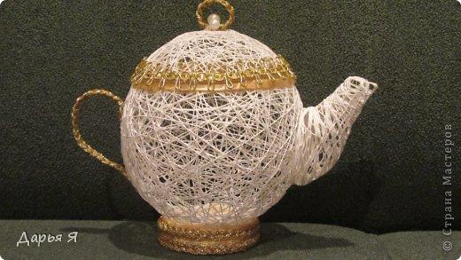 """Вот и мои """"чайные принадлежности"""" из ниток. Так сказать, пробные Чайничек сотруднице на День рождения фото 3"""