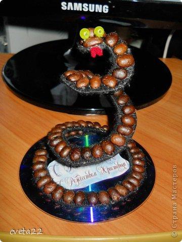 Вот такую змеюшку сделала из кофе, ниток и железной крышки. Укрепила на компьютерном диске,   украсила надписью, слегка украсила гелем с блестками  - чем не новогодний сувенир?! фото 1