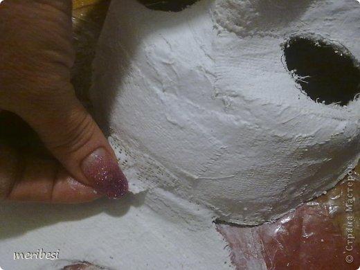 Мастер-класс Поделка изделие Новый год Аппликация из скрученных жгутиков Лепка Маскарадная маска  к празднику успеем мини мк   Гипс Клей Краска Салфетки фото 24