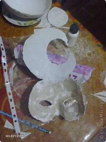 Мастер-класс Поделка изделие Новый год Аппликация из скрученных жгутиков Лепка Маскарадная маска  к празднику успеем мини мк   Гипс Клей Краска Салфетки фото 28