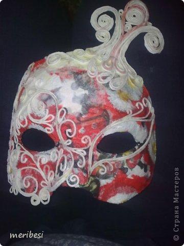 Мастер-класс Поделка изделие Новый год Аппликация из скрученных жгутиков Лепка Маскарадная маска  к празднику успеем мини мк   Гипс Клей Краска Салфетки фото 32