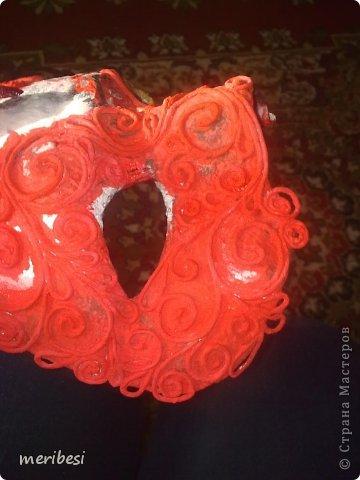 Мастер-класс Поделка изделие Новый год Аппликация из скрученных жгутиков Лепка Маскарадная маска  к празднику успеем мини мк   Гипс Клей Краска Салфетки фото 33