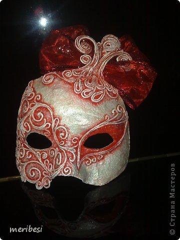 Мастер-класс Поделка изделие Новый год Аппликация из скрученных жгутиков Лепка Маскарадная маска  к празднику успеем мини мк   Гипс Клей Краска Салфетки фото 1