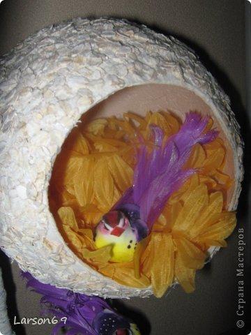 Птичий топиарий. Горшок покупной, ствол- палка из леса, птички из  магазина. фото 3