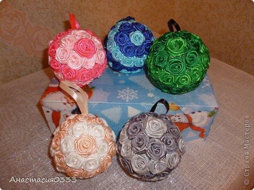 Новогодние шары из лент мастер класс