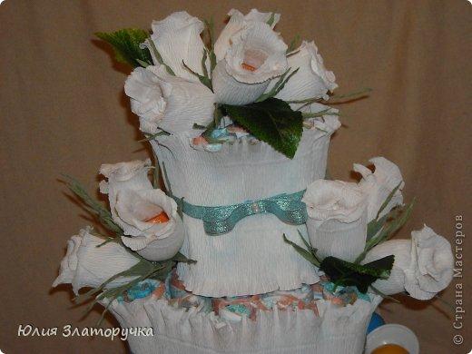 поступил заказ на торт из памперсов,решила сочетнуть его со свит-дизайном. Мне нравится,как получилось)))судите сами)) фото 2