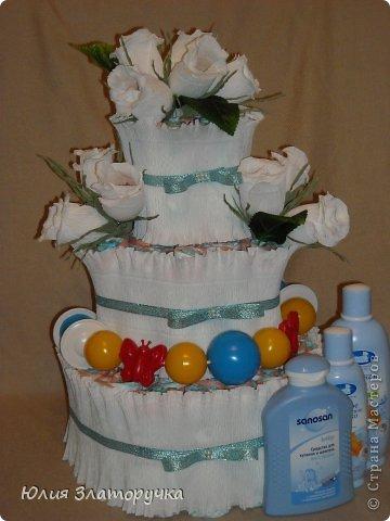 поступил заказ на торт из памперсов,решила сочетнуть его со свит-дизайном. Мне нравится,как получилось)))судите сами)) фото 1