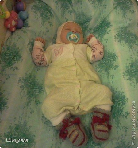 Для внучки Викуси связала я пинетки вспоминая как вязала для дочки Алисы фото 2