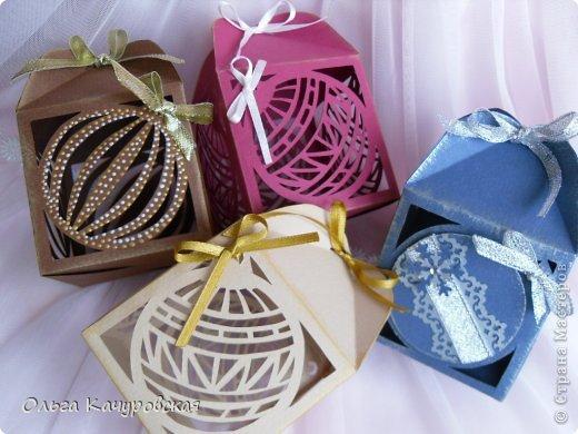 Упаковка Новый год Рождество Вырезание Новогодние подарочные коробочки +шаблоны Бумага Бусинки Ленты фото 1