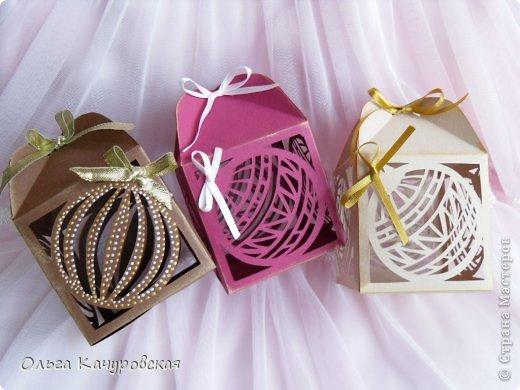 Упаковка Новый год Рождество Вырезание Новогодние подарочные коробочки +шаблоны Бумага Бусинки Ленты фото 4