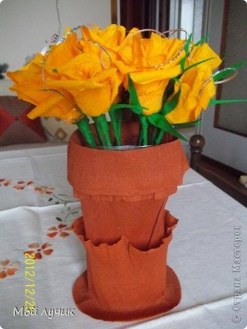Подарок на Рождество.Букет из конфет.Очень люблю розы и с замираем сердца смотрю работы сделанные из цветом.Очень мечтала научиться.Это первый мой букет....выставленный для вас.В Италии принято дарить сладкое на Рождество....и я рискнула....Всем понравилось...Судить вам. фото 1