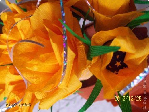 Подарок на Рождество.Букет из конфет.Очень люблю розы и с замираем сердца смотрю работы сделанные из цветом.Очень мечтала научиться.Это первый мой букет....выставленный для вас.В Италии принято дарить сладкое на Рождество....и я рискнула....Всем понравилось...Судить вам. фото 4