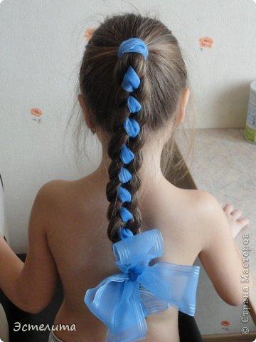 Мастер-класс Прическа Плетение МК коса 4 пряди с лентой Волосы фото 10