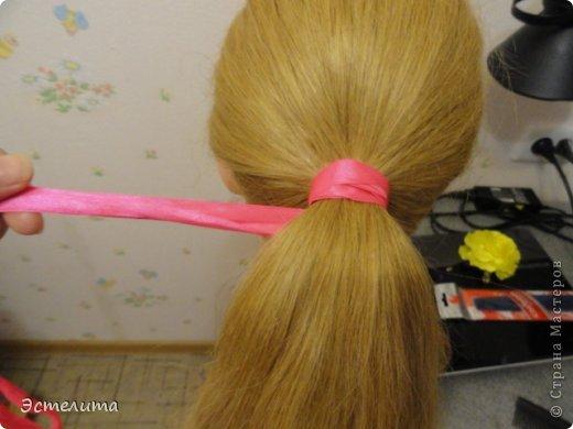 Мастер-класс Прическа Плетение МК коса 4 пряди с лентой Волосы фото 2