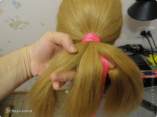 Мастер-класс Прическа Плетение МК коса 4 пряди с лентой Волосы фото 3