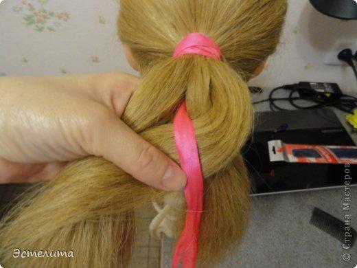 Мастер-класс Прическа Плетение МК коса 4 пряди с лентой Волосы фото 5