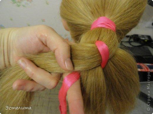 Мастер-класс Прическа Плетение МК коса 4 пряди с лентой Волосы фото 6