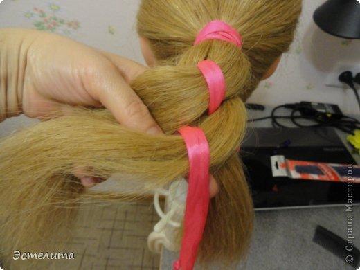 Мастер-класс Прическа Плетение МК коса 4 пряди с лентой Волосы фото 7