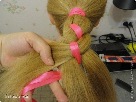 Мастер-класс Прическа Плетение МК коса 4 пряди с лентой Волосы фото 8