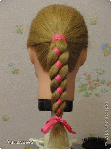 Мастер-класс Прическа Плетение МК коса 4 пряди с лентой Волосы фото 9