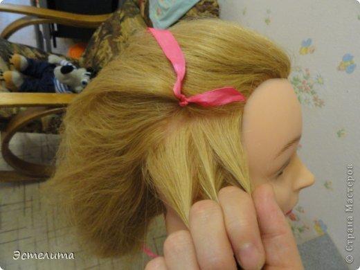 Мастер-класс Прическа Плетение МК коса 4 пряди с лентой Волосы фото 11