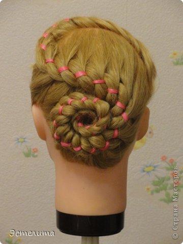 Мастер-класс Прическа Плетение МК коса 4 пряди с лентой Волосы фото 12