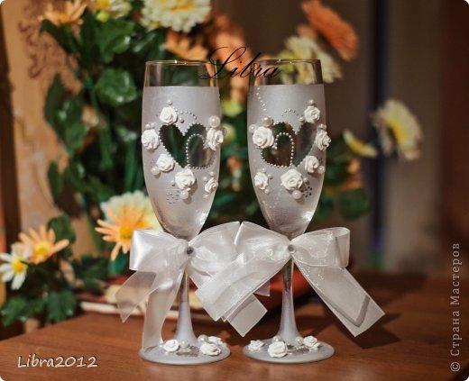 По МК Олеси Ф., за что ей огромное спасибо, сделала в подарок свадебные бокалы,и  вот что у меня получилось.  Сами бокалы фото 5