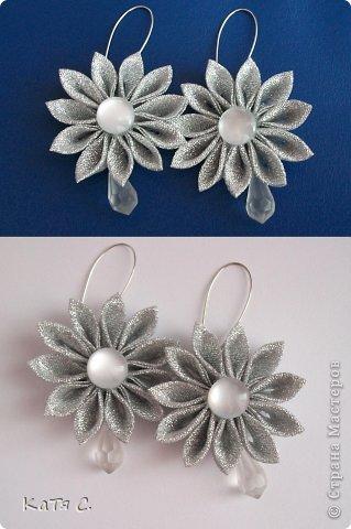 Разные цветы в технике Канзаши фото 14