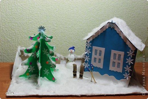 Вот такая зимняя композиция уже отнесена в дет.сад. Я уже одну композицию делала http://stranamasterov.ru/node/476666, но ее, по просьбам моих домашних, оставили дома. Но нельзя же было подводить воспитателя, вот вышла другая, зато делали вместе с дочей. фото 1