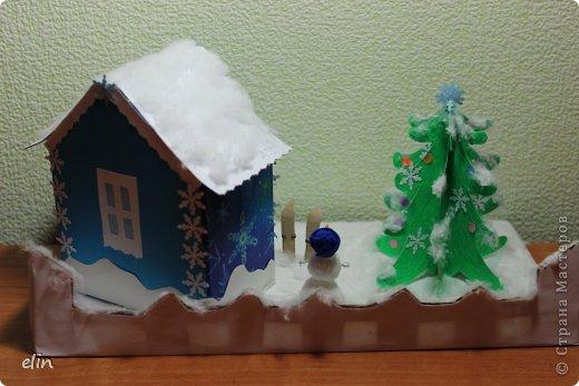 Вот такая зимняя композиция уже отнесена в дет.сад. Я уже одну композицию делала http://stranamasterov.ru/node/476666, но ее, по просьбам моих домашних, оставили дома. Но нельзя же было подводить воспитателя, вот вышла другая, зато делали вместе с дочей. фото 3