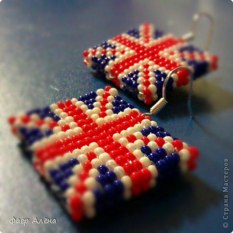 Раздел: Бисероплетение.  1. Привет, жители СМ. Мне заказали серьги в виде флага Англии для любительницы этой страны.