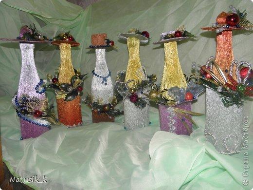 Доброго времени суток дорогие мастерицы! Представляю на ваш суд новую партию новогодних бутылочек. Знаю как вы любите все разглядывать, поэтому фоток будет много.Приятного просмотра! фото 1