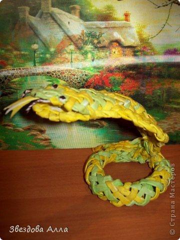 Вот такая змейка по МК Пустельги .Спасибо ей за интересные МК.Не очень хорошо получилось, но как говорится первый блин комом. фото 2