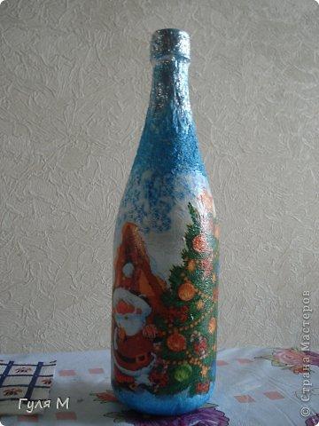 моя первая бутылочка ( делала на заказ мужа). Жаль на фото не видно, что игрушки блестят) фото 3
