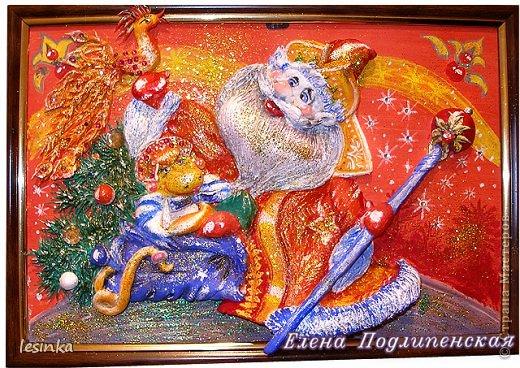 Открывайте шире двери, Новый год пришёл в дома! Ёлка, запах мандаринов, Дед Мороз и чудеса!  Доброго времени суток, дорогие мастерицы!!!  Эту работу сделала для садика, чтобы у деток было новогоднее настроение и вера чудеса и сказку! Очень спешила, старалась успеть, сфотографировала вечером, поэтому видно не очень хорошо. фото 1